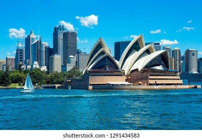 Sydney, Australia - October 16, 2014:  The city center with the Opera House seen from the bay