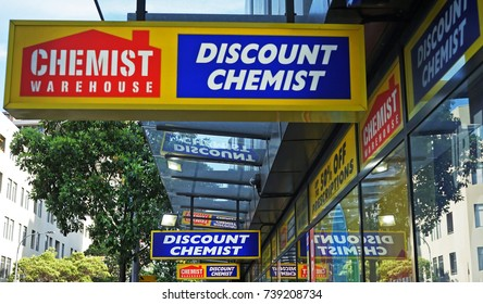 Sydney, Australia - October 17, 2017: Chemist Warehouse sign above the entrance to the drug store on Oxford Street. Chemist Warehouse is a large discount chemist chain with stores throughout Australia