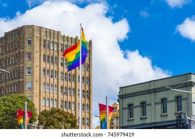 Sydney, Australia - October 18, 2017: Rainbow flag of LGTB movement on Oxford street in Sydney in support of family law change to allow same sex marriages