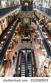 Sydney, Australia - October 2 2019: People wander around the classic Queen Victoria Building shopping arcade in Sydney, Australia largest city.