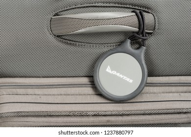 Sydney, Australia - October 2018: Qantas luggage tag, the Q Bag Tag is a permanent electronic bag designed to facilitate a faster and easier baggage check-in