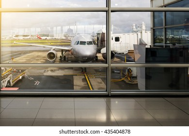 Sydney, Australia - October 22, 2015: A plane at the gate after landing at the Sydney (Kingsford Smith) Airport.