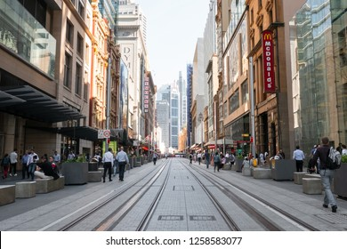 Sydney, Australia - October 23, 2018: Sydney George Street view with tram tracks during the day.