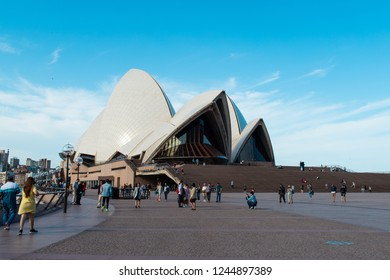Sydney, Australia - October 25, 2018: Sydney Opera House view during the day with clear blue sky.