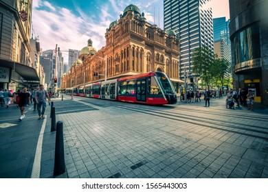 Sydney, Australia - October 25, 2019 : Testing the new light rail line at downtown Sydney launch on December 2019.