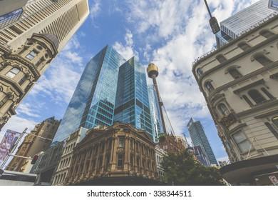 SYDNEY, AUSTRALIA - OCTOBER 26, 2015: Skyline of Sydney with city central business district.