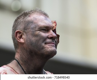 Sydney, Australia - October 29, 2016. Participant of the Zombie Walk walks on street in Sydney city center