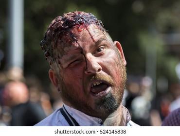 Sydney, Australia - October 29, 2016.Zombie Walk Sydney, Portrait of zombie man with creative makeup
