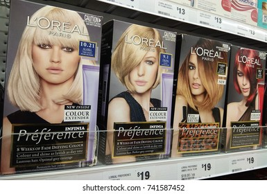 SYDNEY, AUSTRALIA - OCTOBER 3, 2017: Loreal hair color product on supermarket shelf. Loreal is the world largest cosmetics company, headquartered in Clichy, France.