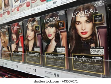 SYDNEY, AUSTRALIA - OCTOBER 3, 2017: Loreal Paris Recital Preference Hair Color product on supermarket shelf. Loreal is the world largest cosmetics company, headquartered in Clichy, France.