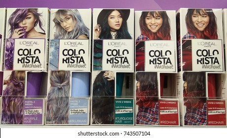 SYDNEY, AUSTRALIA - OCTOBER 3, 2017: Loreal Paris Colo Rista Washout Hair Colour product on Store shelf. Loreal is the world largest cosmetics company, headquartered in Clichy, France.