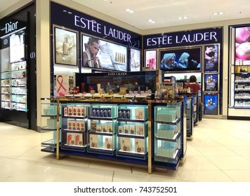 SYDNEY, AUSTRALIA - OCTOBER 3, 2017: An Estee Lauder store in Sydney Airport. The Estee Lauder Companies Inc. is an American manufacturer of prestige skincare, makeup, fragrance and hair care product.