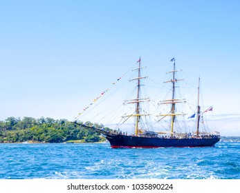 SYDNEY, AUSTRALIA - OCTOBER 4,2013: Barque James Craig 19th century built square-rigged tall ship sail in Sydney harbor for celebrated International Fleet Review Sydney 2013 on Oct. 4, 2013.