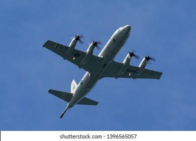 Sydney, Australia - October 5, 2013: Pakistan Navy Lockheed P-3C Orion Maritime patrol aircraft.