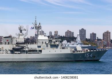 Sydney, Australia - October 5, 2013: HMAS Parramatta (FFH 154) Anzac-class frigate of the Royal Australian Navy in Sydney Harbor.