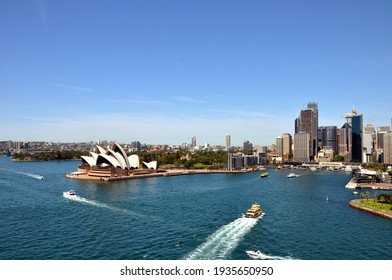 Sydney, Australia - October 5 2015: View of the Opera House from the Bridge