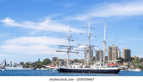 SYDNEY, AUSTRALIA - OCTOBER 5,2013: Lord Nelson a unique tall ship operated by the Jubilee Sailing Trust sail in Sydney harbor for celebrated International Fleet Review Sydney 2013 on Oct. 5, 2013.