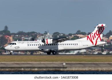 Sydney, Australia - October 7, 2013: Virgin Australia Airlines ATR ATR-72 twin engine turboprop regional airliner aircraft at Sydney Airport.