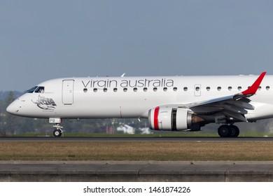 Sydney, Australia - October 7, 2013: Virgin Australia Airlines Embraer E-190 twin engine regional jet airliner at Sydney Airport.