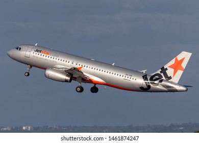 Sydney, Australia - October 7, 2013: Jetstar Airways Airbus A320 twin engine passenger aircraft taking off from Sydney Airport.