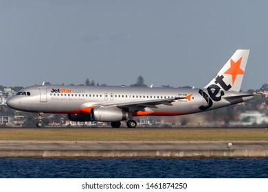 Sydney, Australia - October 7, 2013: Jetstar Airways Airbus A320 twin engine passenger aircraft at Sydney Airport.