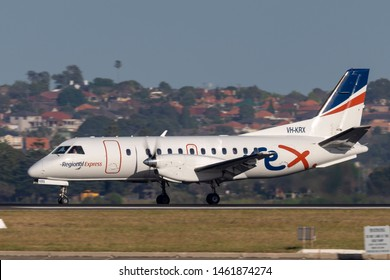 Sydney, Australia - October 7, 2013: REX (Regional Express Airlines) Saab 340 twin engined regional commuter aircraft taking off from Sydney Airport.