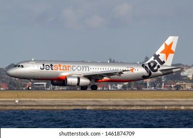 Sydney, Australia - October 7, 2013: Jetstar Airways Airbus A320 twin engine passenger aircraft landing at Sydney Airport.