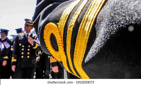 SYDNEY, AUSTRALIA - OCTOBER 8, 2013 : Royal Thai navy officers in black uniform prepare for combined navies parade during Australia Fleet Review Sydney 2013 on October 8, 2013 in Sydney, Australia.