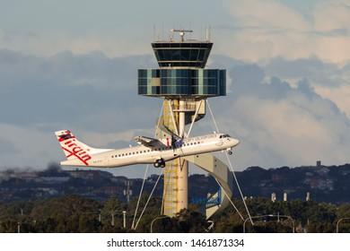 Sydney, Australia - October 8, 2013: Virgin Australia Airlines ATR ATR-72 twin engine turboprop regional airliner aircraft taking off from Sydney Airport.