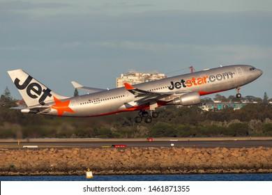 Sydney, Australia - October 8, 2013: Jetstar Airways Airbus A330 passenger aircraft departing Sydney Airport.