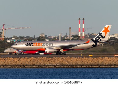 Sydney, Australia - October 9, 2013: Jetstar Airways Airbus A330 airliner aircraft on the tarmac at Sydney Airport after landing.