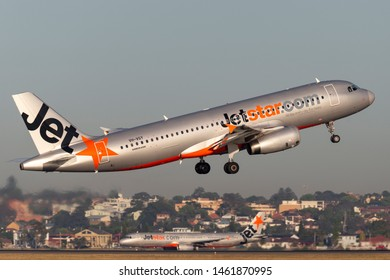 Sydney, Australia - October 9, 2013: Jetstar Airways Airbus A320 twin engine passenger aircraft taking off from Sydney Airport.