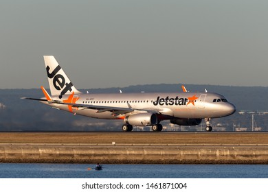 Sydney, Australia - October 9, 2013: Jetstar Airways Airbus A320 twin engine passenger aircraft at Sydney Airport.