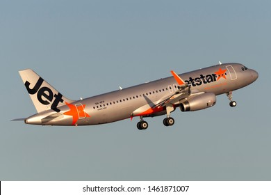 Sydney, Australia - October 9, 2013: Jetstar Airways Airbus A320 twin engine passenger aircraft takes off from Sydney Airport.