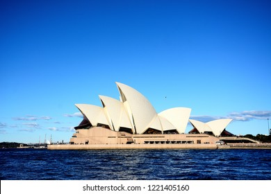 SYDNEY, AUSTRALIA. - On April 12, 2018. - Sydney opera house, is a favorite landmark and a multi-venue performing arts centre in Sydney, New South Wales with blue sky background.