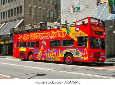 SYDNEY, AUSTRALIA. – On December 12, 2010. - The red double-decker bus is hop-on hop-off bus for a sightseeing tour in Sydney.