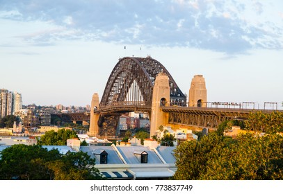 SYDNEY, AUSTRALIA. – On December 12, 2017. - Beautiful view of Sydney Harbour bridge from Observatory Hill Lookout.