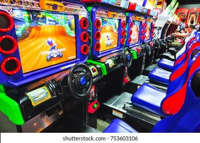 SYDNEY, AUSTRALIA. – On December 15, 2012. - Super Mario kart racing video game arcade at City Amusements Level 3 Market City.