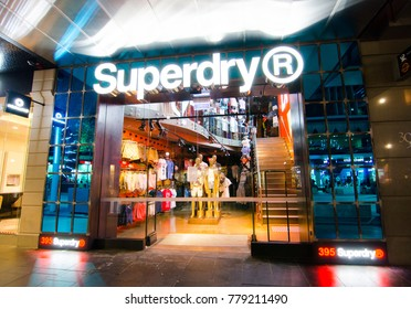 SYDNEY, AUSTRALIA. – On December 21, 2017. - Superdry fashion clothing and accessories retail store, the image shows shopfront at George Street, Sydney Downtown at Night.