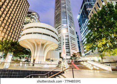 SYDNEY, AUSTRALIA. – On December 21, 2017. - Night photography of The MLC Centre is a skyscraper office building, a stark white, modernist column in an octagonal floorplan at Martin Place.