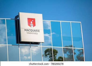 SYDNEY, AUSTRALIA. – On December 23, 2017. - Macquarie University logo on glass window building.