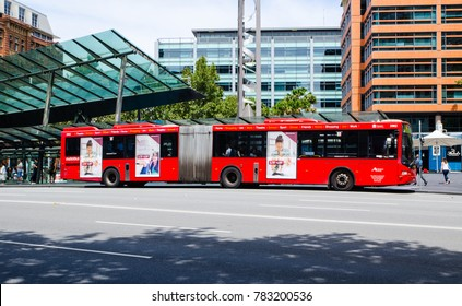SYDNEY, AUSTRALIA. – On December 28, 2017. - Long red Metrobus is high frequency, high capacity bus network in Sydney.