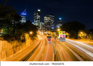 SYDNEY, AUSTRALIA. – On December 28, 2017. - Night photography of Toll Road with Cityscape at the background.