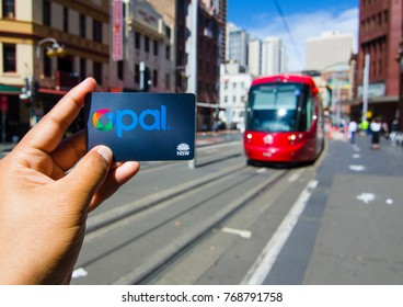 SYDNEY, AUSTRALIA. – On December 5, 2017. – Opal card is a contactless smartcard ticketing system for public transport services in the greater Sydney area, the image at Light rail station.