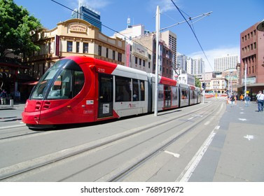 SYDNEY, AUSTRALIA. – On December 5, 2017. – Red light rail running through Market city at Sydney Chinatown.
