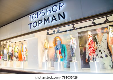 SYDNEY, AUSTRALIA – On January 10, 2018. – Topshop Topman fashion clothing and accessories retail store, the image shows shopfront at night.