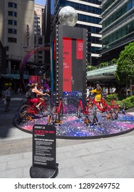"""SYDNEY, AUSTRALIA – On January 14, 2019. –  Fly me to the moon , peddling on the wild """"flying bike"""" sculpture Lunar Velocipede created by arts company Erth Visual & Physical at world square building."""
