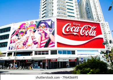 SYDNEY, AUSTRALIA – On January 18, 2018. – The Coca-Cola Billboard in Kings Cross is more often regarded as an iconic landmark than as an advertisement.