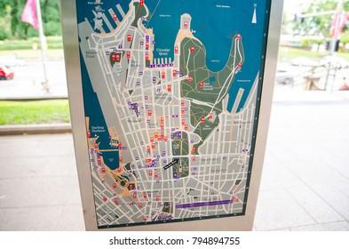 SYDNEY, AUSTRALIA – On January 19, 2014. – City street Map signpost information guide.