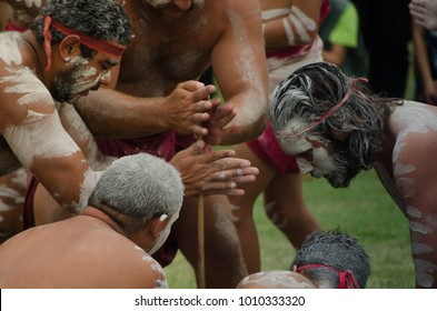 "SYDNEY, AUSTRALIA – On January 26, 2018. – An ancient custom""smoking ceremony"" among  Indigenous Australians that involves burning plants to produce smoke which is believed to cleansing properties."